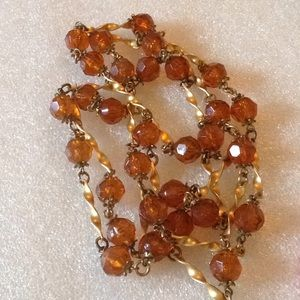 Vintage faced lucite beads long necklace